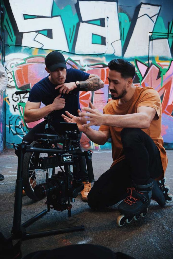 stunt camera crew with bmx rider